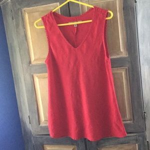 Flax Linen V Neck Sleeveless Red Top Size Small